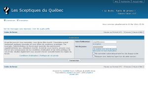 Les Sceptiques du Québec • Panneau de contrôle de l'utilisateur • Connexion