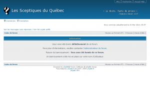 Les Sceptiques du Québec • Panneau de contrôle de l'utilisateur • Information